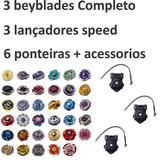 3 Beyblades  Kit  Lançador Originais Rapidity Ferro  brinde