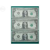 3 Três Cédulas Notas De 1 Dólar Americano Nova Original
