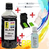 550ml Tinta Preta Recarga Cartuchos Impressora Hp   Snap Fil