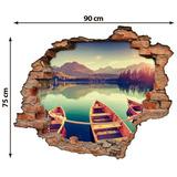 Adesivo Buraco Parede   Canoas Na Lagoa   Efeito 3d