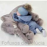Almofada Elefante De Pelúcia 55cm Travesseiro Para Bebê
