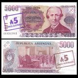 Argentina P 321 Fe 5 Australes 5 000 Pesos 1985 C O L