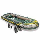 Barco Bote Inflável Intex Seahawk 400kg Par De Remos Bomba