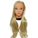 Cabeça De Boneca Platinado Liso 65cm 100% Organico E Suporte