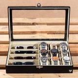 Caixa Estojo Maleta Porta 9 Relógios 4 Óculos Várias Cores