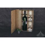Caixa Para Vinho Com Taças Presente Personalizado A Laser