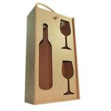 Caixa Porta Vinho Em Mdf Com Porta Taça   Caixa De Vinho