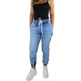 Calça Jeans Feminina Jogger C Punho Elástico Moda Inverno