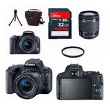 Câmera Canon Eos Sl2 18 55 bolsa tripé 32gb filtro Rev Autor