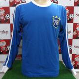 Camisa Seleção Brasileira Retro 78 Azul Mangas Longas 8372d342a5e56