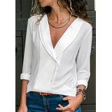 dfc31c42e8 Camisa Simples   Casual Estilo V Neck Puro Cor Tecido De Sed