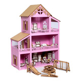 Casa Casinha De Boneca Polly Mdf  36 Móveis  Parquinho