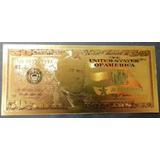 Cédula 50 Dólar Folhada Ouro 24 K