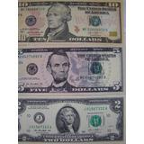 Estados Unidos 3 Céd 5  E 10  Dólares Americanos Unc Coleção