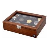 Estojo Caixa Para 12 Relógios Em Madeira Maciça   Total Luxo