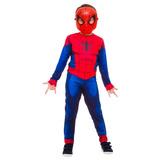 Fantasia Infantil Homem Aranha Longo Clássico Máscara E Teia