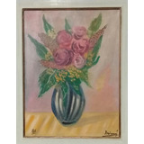 Inimá De Paula  Óleo Sobre Tela  Representando Vaso Com Flor