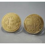 Kit 10 Moeda Bitcoin Física Dourada Banhada Ouro