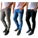Kit 3 Peças Calça Jeans Sarja Masculina Slim Skinny C Lycra