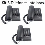 Kit 3 Un Telefone Pleno Preto Flash  Redial Mute Intelbras