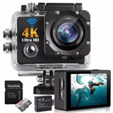 Kit Filmadora Action Câmera 4k C  Cartão 32gb   Bat  Extra