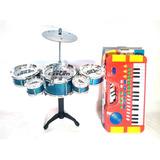 Kit Mini Bateria 5 Tambores Happy Jazz Drum   Mini Teclado