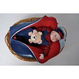 Kit Saída Maternidade Menino Inverno Plush Vermelho E Azul