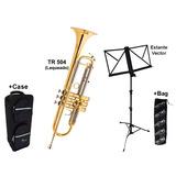 Kit Trompete Eagle Laqueado Tr504 C case Estante Vector bag