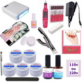 Kit Unhas Gel Cabine Lixa Pincel Top Coat Primer Cola Bloco