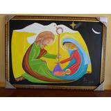 Lindo Quadro Nascimento De Jesus Pintado A Mão Com Moldura