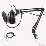 Microfone Estúdio Bm800   Pop Filter   Aranha   Braço Articu