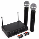Microfone Sem Fio Duplo Wireless 100mt Uhf Karaokê Kit Com 2