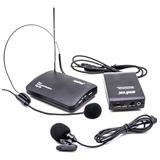 Microfone Sem Fio Wireless Duplo Auricular Headset   Lapela