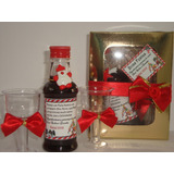 Mini Vinho Personalizado 2 Tacinhas  Caixa Para Seu Natal