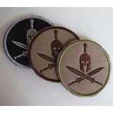 Patch Bordado Esparta   Capacete E Espadas Militar Tático