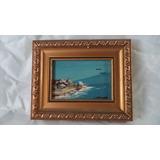 Pintura Miniatura Marinha Óleo Sobre Madeira Assinado