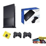 Playstation 2 Slim Destravado Completo   10 Jogos Usado Ps2