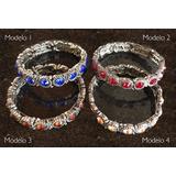 8f8766d0320 Pulseira Bracelete Feminino Metal Prata E Pedras Strass