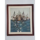 Quadro Antigo Caravelas Pintura Óleo Sobre Madeira Assinado