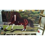 Quadro Decorativo Cavalo De Raça Linda Pintura Óleo Incrível