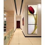 Quadro Pintura Tela Tulipa Vermelha 3 Painéis 60x60 Cm