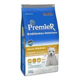 Ração Premier Ambientes Internos Super Premium Cachorro Filhote Raça Pequena Frango salmão 12kg