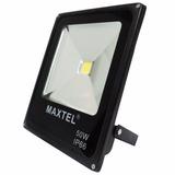 Refletor Holofote Super Led   50w Branco Frio 6000k   Maxtel
