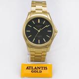 ffa231939da Relógio Atlantis Marca Original Dourado Preto Aço Homem Soci