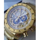 ca55f9145e6 Relogio Bvlgari Skeleton Serie Ouro Primeira Linha