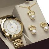 Relógio Champion Dourado Feminino Original   Colar Brinco