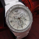 e6808008569 Relógio Emporio Armani Ar1456 Cerâmica Branca Super Lindo