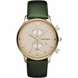 46183d9c7b54b Relógio Emporio Armani Ar1722 Dourado E Verde Pulseira Couro