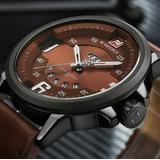 Relógio Masculino Esportivo Militar Couro Naviforce Original