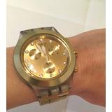7fc2cd32200 Relogio Original Swatch Dourado